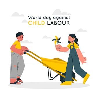 Werelddag tegen kinderarbeid concept illustratie