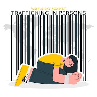 Werelddag tegen mensenhandel concept illustratie