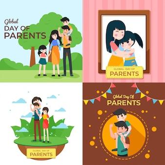 Werelddag van ouders illustratie