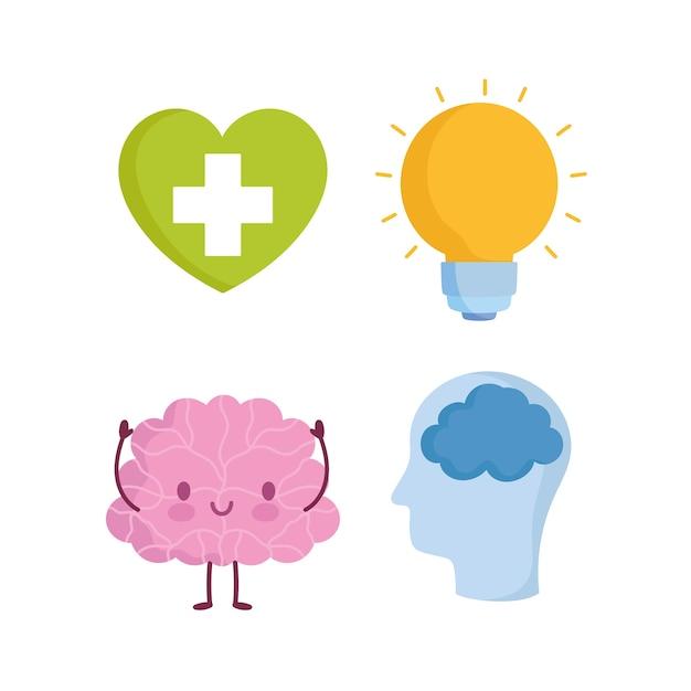 Werelddag voor geestelijke gezondheid, cartoon hersenen profiel menselijk hoofd hart lamp pictogrammen