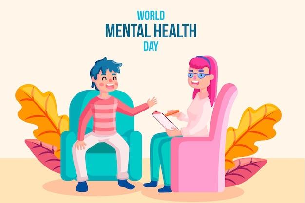 Werelddag voor geestelijke gezondheid evenement plat ontwerp