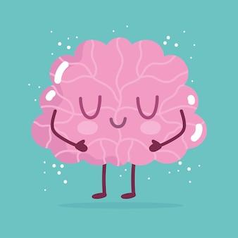 Werelddag voor geestelijke gezondheid, hersenen stripfiguur op groene achtergrond