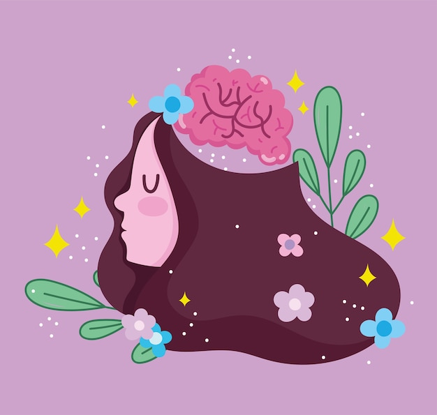 Werelddag voor geestelijke gezondheid, meisje menselijk brein bloemen bladdecoratie