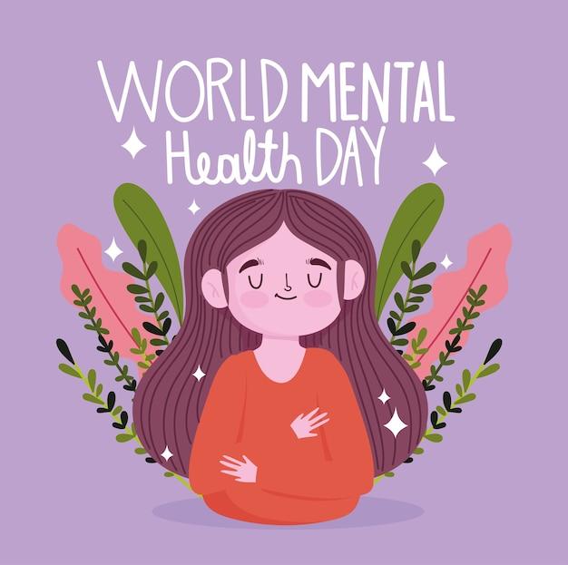Werelddag voor geestelijke gezondheid, meisje vliegt natuur lelaves, bericht
