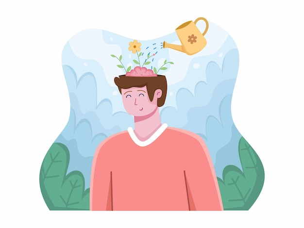 Werelddag voor geestelijke gezondheid op 10 oktober met ontspannende mensen clear your mind positive thinking
