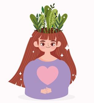 Werelddag voor geestelijke gezondheid, portretvrouw met bladeren in hoofd