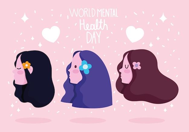 Werelddag voor geestelijke gezondheid, vrouwelijk profielhoofd met bloemenbeeldverhaal