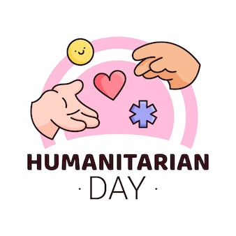 Werelddag voor humanitaire hulp - 19 augustus - sjabloon voor spandoek. hand die hulp geeft en ontvangt die als pil, hart, asteriskpictogrammen wordt gesymboliseerd. erkenning van mensen die werken en hun leven hebben verloren humanitaire doelen