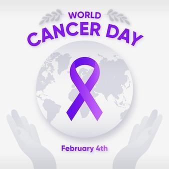 Werelddag voor kanker met kleurovergang met lint