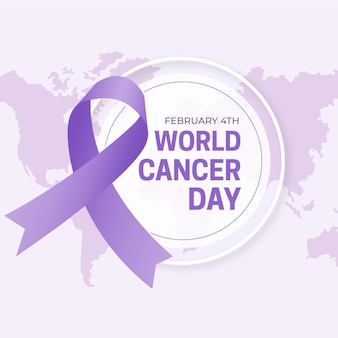 Werelddag voor kanker platte ontwerp achtergrond