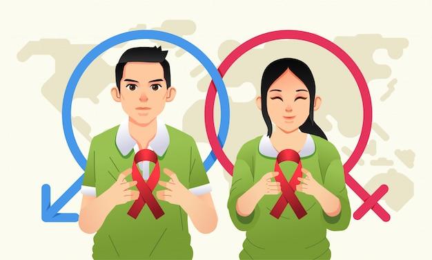 Werelddag voor seksuele gezondheid met mannen en vrouwen droegen het aids-logo op hun hand en een wereldkaart als achtergrondillustratie