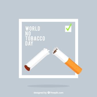 Werelddag zonder tabak achtergrond met gebroken sigaret