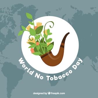Werelddag zonder tabak achtergrond met pijp vol planten