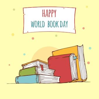 Werelddagboek. stapel kleurrijke boeken met open boek op blauwgroen achtergrond. onderwijs vectorillustratie.