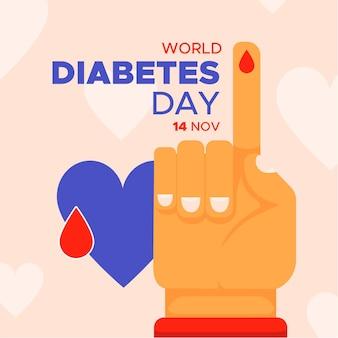 Werelddiabetesdag in plat ontwerp