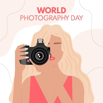 Wereldfotografie dag met vrouwelijke fotograaf