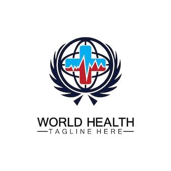 Wereldgezondheid logo vector illustratie ontwerpsjabloon