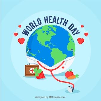 Wereldgezondheidsdag achtergrond in vlakke stijl