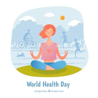 Wereldgezondheidsdag achtergrond met persoon uitoefenen