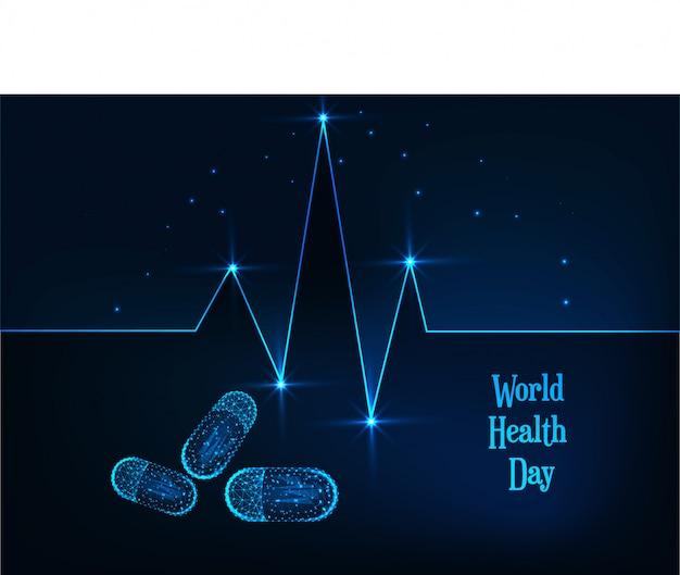 Wereldgezondheidsdag banner met gloeiende lage veelhoekige hartslag lijn, pillen en tekst op donkerblauw.