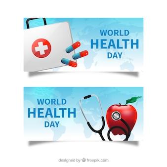 Wereldgezondheidsdag banners met medicijnkastje en stethoscoop