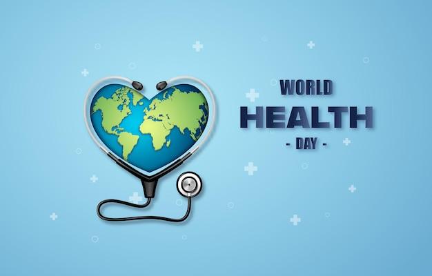 Wereldgezondheidsdag concept, papierkunst en digitale ambachtelijke stijl.