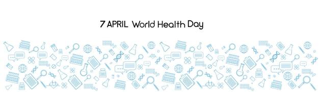 Wereldgezondheidsdag geneeskunde banner schets achtergrond