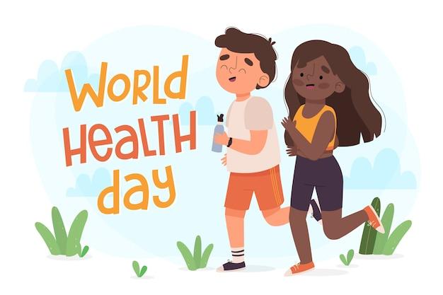 Wereldgezondheidsdag hand getrokken behang
