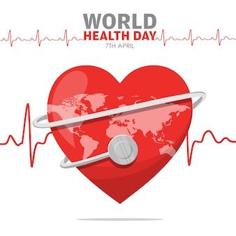 Wereldgezondheidsdag hartslag van rood hart