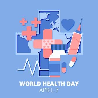 Wereldgezondheidsdag illustratie in papieren stijl