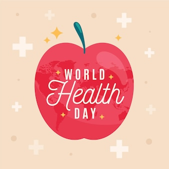 Wereldgezondheidsdag illustratie met appel