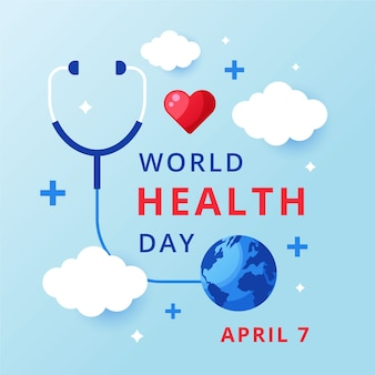 Wereldgezondheidsdag in plat ontwerp