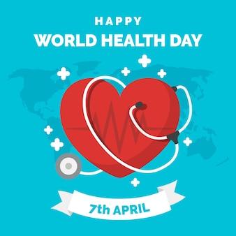 Wereldgezondheidsdag plat ontwerp behang