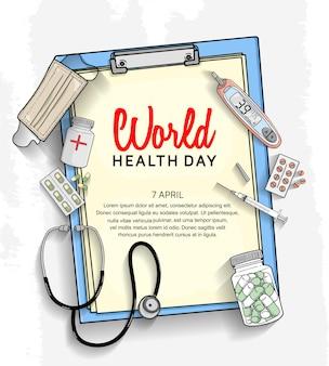 Wereldgezondheidsdag poster met medische apparatuur