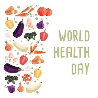 Wereldgezondheidsdag vierkante poster sjabloon met verzameling van verse biologische groenten