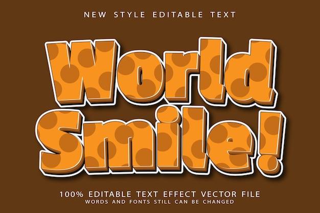 Wereldglimlach bewerkbaar teksteffect in reliëf in moderne stijl