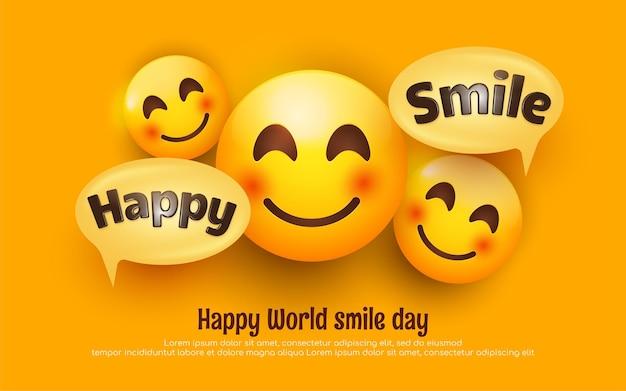 Wereldglimlachdag bewerkbare belettering met smile happy face emoji