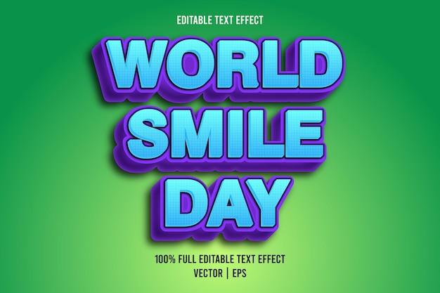 Wereldglimlachdag bewerkbare teksteffect komische stijl