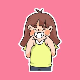 Wereldglimlachdag, schattige cartoon glimlachen, mensen glimlachen gelukkig, lachen, genieten van cartoon illustratie