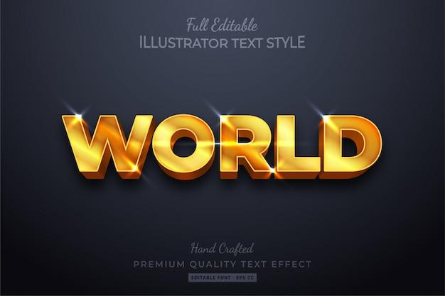 Wereldgoud bewerkbare tekststijleffect premium