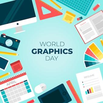 Wereldgraphics dag achtergrond met uitrustingsstukken