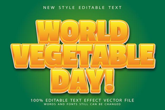 Wereldgroentendag bewerkbaar teksteffect reliëf moderne stijl
