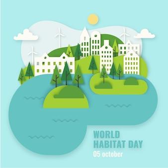 Wereldhabitat dag concept in papieren stijl