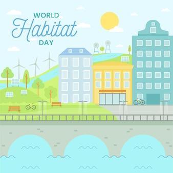 Wereldhabitatdag in plat ontwerp