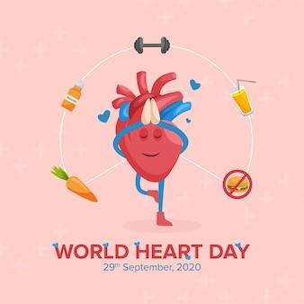 Wereldhartdag bannerontwerp met hartkarakter