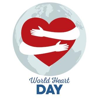 Wereldhartdag met handen die hart en planeet aarde knuffelen.