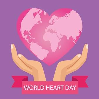 Wereldhartdag met handen die roze hart en lintframe beschermen.