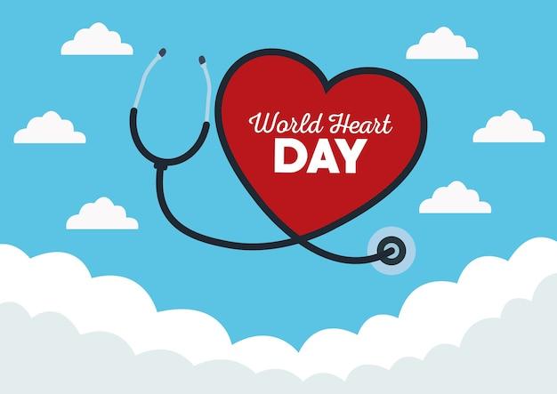 Wereldhartdag met stethoscoop op hemelachtergrond.