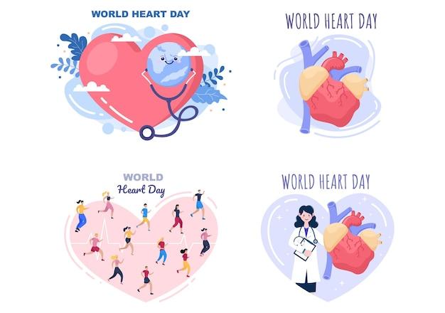 Wereldhartdagillustratie om mensen bewust te maken van het belang van gezondheid, zorg en preventie van verschillende ziekten. plat ontwerp