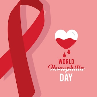 Wereldhemofilie dag kaart lint embleem hart bloed